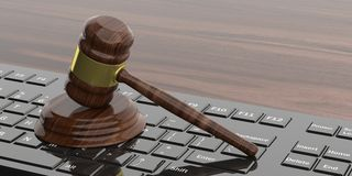 3d rendering gavel auction. On a black keyboard Stock Images