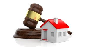 3d rendering gavel auction. With a small house Stock Images