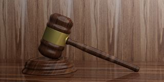 3d rendering gavel auction. On a wooden surface Royalty Free Stock Image