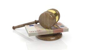 3D rendering of gavel on 50 Euros banknote pack Royalty Free Stock Photos