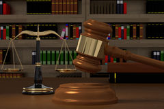 3D rendering of gavel, law scales and books stock illustration