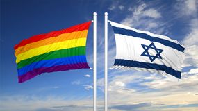 3d rendering gay flag with Israel flag Stock Image