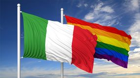 3d rendering gay flag with Italy flag Royalty Free Stock Photos