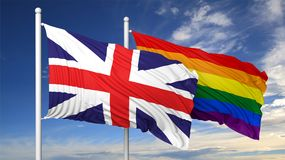3d rendering gay flag with UK flag Stock Photo