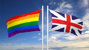 3d rendering gay flag with UK flag Stock Images