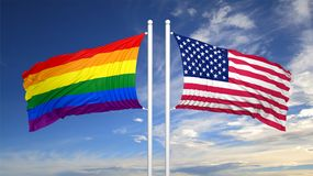 3d rendering gay flag with USA flag Stock Photography