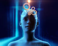 3d rendering of gear in human  brain technology background Stock Images