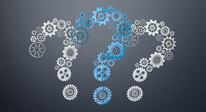 3D rendering gear icons question mark flying Stock Image