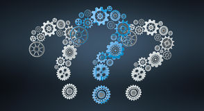 3D rendering gear icons question mark flying Royalty Free Stock Photo