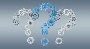 3D rendering gear icons question mark flying Royalty Free Stock Image