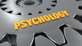 Gear and psychology word. 3d rendering. Gear and psychology word Stock Photo