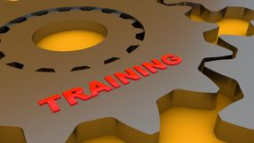 Gear and training word. 3d rendering. Gear and training word Royalty Free Stock Image