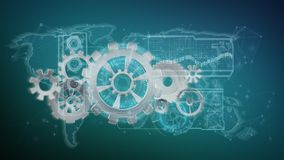 3d rendering gear wheel interface isolated on a background. View of a 3d rendering gear wheel interface isolated on a background stock illustration