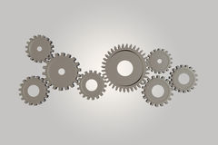3D rendering of gear wheels, teamwork concept on white Stock Photography