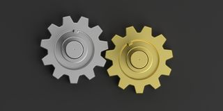3d rendering gears on black background Stock Photos
