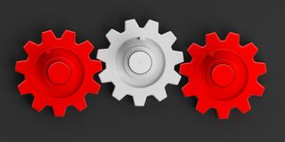 3d rendering gears on black background Royalty Free Stock Photo