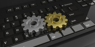 3d rendering gears on a black keyboard. 3d rendering silver and gold gears on a black keyboard Royalty Free Stock Images