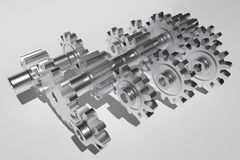 A 3d rendering of gears. A 3d rendering of diffrent gears, all made of metal chrome Royalty Free Stock Photos