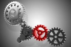 3D Rendering gears mechanism Stock Image