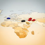 3D rendering of Geography of war Stock Photo