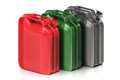 3d rendering geometric a set of red, green and metal jerry cans vector illustration