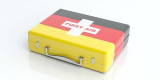 3d rendering Germany flag first aid kit on white background. 3d rendering first aid kit with Germany flag on white background Royalty Free Stock Images