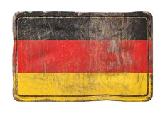 Old Germany flag. 3d rendering of a Germany flag over a rusty metallic plate. Isolated on white background Stock Image
