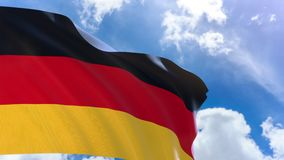 3D rendering of Germany flag waving on blue sky background with Alpha channel stock footage