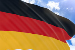 3D rendering of Germany flag waving on blue sky background Stock Photos