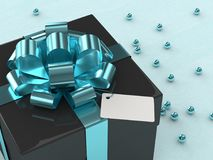 3d rendering of  gift box with blue ribbon. On wooden desk Royalty Free Stock Photos
