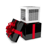 3d rendering of gift box with discount bar code isolated over wh. Ite background Stock Image