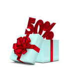 3d rendering of gift box with 50% discount isolated over white. Background Royalty Free Stock Photography