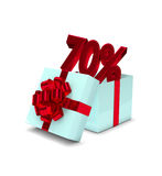 3d rendering of gift box with 70% discount isolated over white. Background Stock Photo