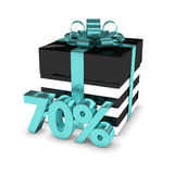 3d rendering of gift box with 70% discount  over white. Background Royalty Free Stock Images