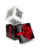 3d rendering of gift box with discount qr code isolated over whi. Te background Stock Photos