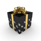 3d rendering of gift box with golden ribbon  over white. Background Stock Images