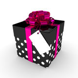 3d rendering of gift box with label  over white. Background Stock Images