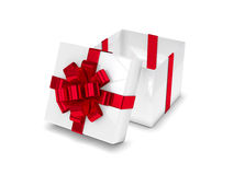 3d rendering of gift box with open lid isolated over white. Background Stock Photo