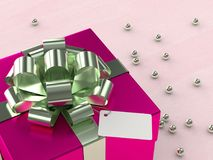 3d rendering of  gift box with ribbon. On wooden desk Royalty Free Stock Photography