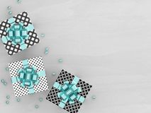 3d rendering of  gift boxes with blue ribbon. 3d rendering of  gift boxes on wooden desk with place for text Stock Photo