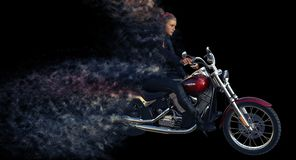 3d rendering of girl rider on motorcycle vector illustration