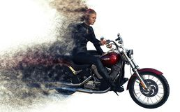 3d rendering of girl rider on motorcycle stock photo