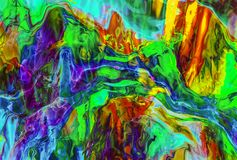 3D rendering. The glass melt. Abstract image of colored shimmering glass. Color streams of fantastic shapes Stock Images