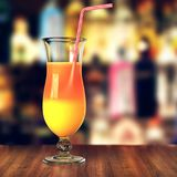 3D rendering glass with tropical cocktail and straw Stock Photo