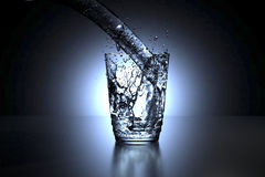 3D rendering of a glass of water spill. Ing Royalty Free Stock Images