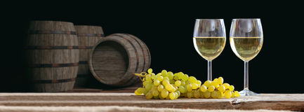 3d rendering glasses of wine on dark background Stock Photography