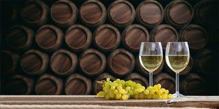 3d rendering glasses of wine on dark background Stock Image