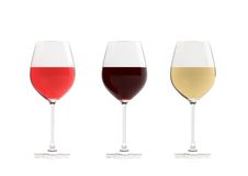3d rendering glasses of wine on white background. 3d rendering crystal glasses of wine on white background Stock Photos