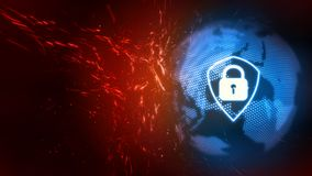 3D Rendering of Global Internet Cyber security attack protection. Corporate, large scale organization royalty free illustration