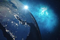 3D Rendering Global Network Background. Blue Sunrise View From Space. Global International Connectivity. Earth from royalty free illustration